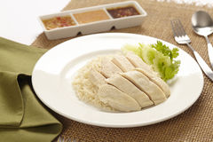 Hainanese Chicken rice. With sauce Royalty Free Stock Image