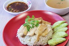 Hainanese Chicken Rice with sauce and soup Stock Photography