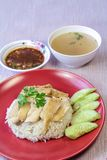 Hainanese Chicken Rice with sauce and soup Stock Photos