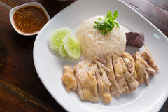 Hainanese Chicken Rice with sauce and soup Royalty Free Stock Photo