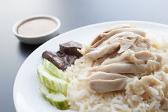 Hainanese chicken rice. And sauces, khao mun kai royalty free stock image