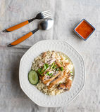 Hainanese Chicken Rice. Served as dinner Royalty Free Stock Image