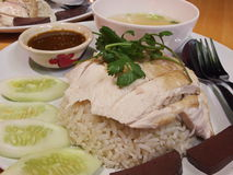Hainanese chicken rice. Is sold and eaten easily. A popular type of Thailand Stock Photo