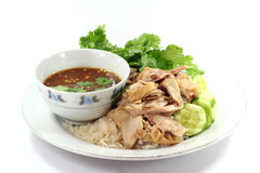 Hainanese chicken rice. With chicken soup Royalty Free Stock Images