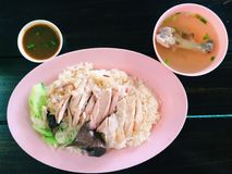 Hainanese chicken rice. With soup and sauce, traditionally food of Thailand Royalty Free Stock Photos