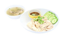 Hainanese chicken rice with soup Stock Image
