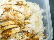 Hainanese chicken rice or steam chicken rice with sauce. In box lunch Stock Photography