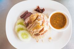 Hainanese chicken rice , Thai gourmet rice topped with chicken ,thai food.  Stock Photography
