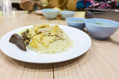 Hainanese chicken rice. Thai gourmet steamed chicken with rice Stock Photography