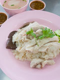 Hainanese chicken rice. Thai gourmet steamed chicken with rice Royalty Free Stock Image