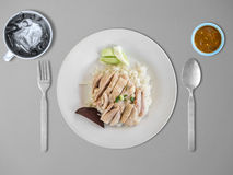 Hainanese chicken rice. Top view of Hainanese chicken rice set Stock Photography