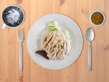 Hainanese chicken rice. Top view of Hainanese chicken rice set Royalty Free Stock Image