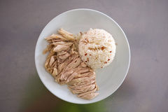 Hainanese chicken rice. On the white plate Stock Photography