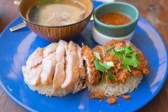 Hainanese-Hühnerreis mit Soße stockbild