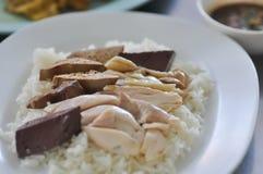 Hainanese kurczaka ryż lub Singapur kurczak ryż zdjęcia royalty free