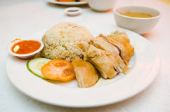 Hainanese Style Chicken Rice Stock Photo