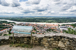 Hainburg an der Donau and Danube river from Schlossberg, Austria royalty free stock photo