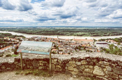 Hainburg an der Donau and Danube river from Schlossberg, retro p royalty free stock image