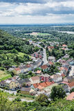 Hainburg an der Donau, forests and Danube river from Schlossberg, Austria royalty free stock photos