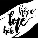 Haine d'amour d'espoir noire et blanche Images libres de droits