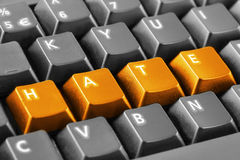 Haine de Word écrite avec des boutons de clavier Photos stock