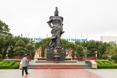 Haiphong, Vietnam - Apr 30, 2015: Statue of heroine Le Chan in center park. Le Chan was female general who led the armies of the T royalty free stock photo