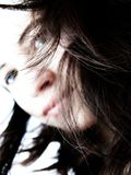 Hair. Girl with blurred face and sharp hair Royalty Free Stock Images