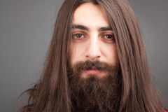 Hair. Portrait of man with long hair, mustache and beard Royalty Free Stock Photography