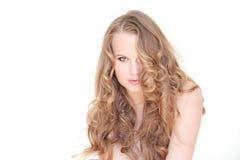 Hair. Woman, long blonde healthy curly hair Royalty Free Stock Photos