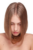 Hair. Portrait of beautiful pretty girl with smooth gloss hair Royalty Free Stock Photo