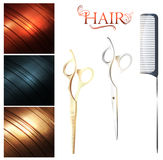 Hair. Sample palette and cutting scissors with metal pin tail comb Stock Photography