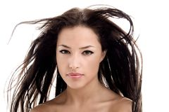 Hair. Beautiful young woman with flying hair Royalty Free Stock Photos