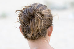 Hair. Look from behind of a head of a woman Stock Images