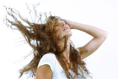 Hair. Stylish shot of nice young long hair woman on white back Royalty Free Stock Photo