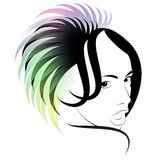 Hair. Art of a hairdress. Haute couture in vector figure stock illustration