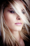 Hair. Blond woman portrait with hair over face Royalty Free Stock Photo