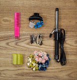 Hair Accessories on Aged Wood Royalty Free Stock Photography