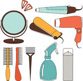 Hair accessories and barber tools color icons Royalty Free Stock Images