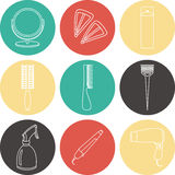 Hair accessories and barber tools color icons. Hair accessories and barber tools color vector Stock Photography