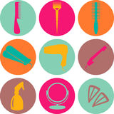 Hair accessories and barber tools color icons. Hair accessories and barber tools color vector Royalty Free Stock Images