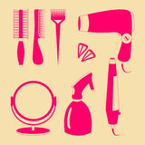 Hair accessories and barber tools color icons. Hair accessories and barber tools color vector Royalty Free Stock Photography