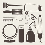 Hair accessories and barber tools grey icons Royalty Free Stock Photos