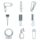 Hair accessories and barber tools line icons. Hair accessories and barber tools line vector Stock Image