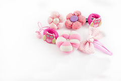 Hair Accessories. Girl hair accessories such as buckles, elastic bands, bows, scrunchies with different shapes, on a white background stock images