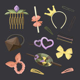 Hair Accessories Object Set. Headband, Comb Hairpin Elastic vector illustration