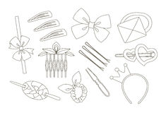 Hair Accessories Object Set Stock Photos