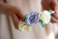 Hair accessory handmade. Close.Located on the open palm. Delicate pastel shades Stock Photography