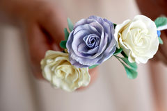 Hair accessory handmade. Close.Located on the open palm. Delicate pastel shades Royalty Free Stock Image