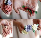 Hair accessory handmade. Close.Located on the open palm. Delicate pastel shades Royalty Free Stock Photography