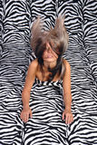 Hair on the air. Hair and fashion zebra stylization Stock Photography
